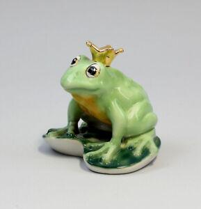9942050-Porzellan-Figur-Froschkoenig-goldene-Krone-Wagner-amp-Apel-Frosch-9x9cm