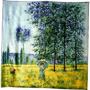 Details About Scarf Silk Claude Monet Woman Umbrella Field Giverny Impressionist Art France
