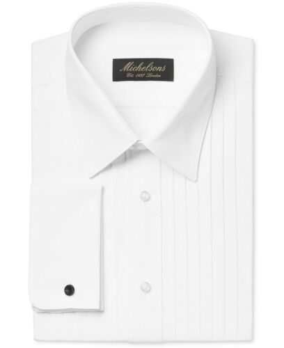 $281 Michelsons Men Classic-Fit White French-Cuff Tuxedo Dress Shirt 15 34//35 M