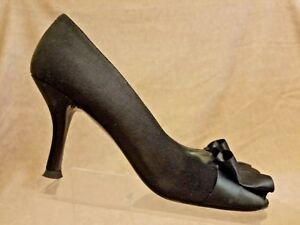 Stuart-Weitzman-Women-039-s-Black-Leather-Pumps-Stiletto-Bow-Heels-Shoes-Size-7-M