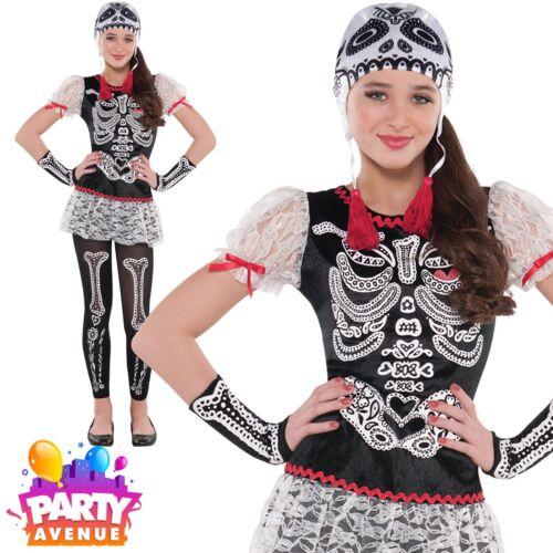Girls Teen Sassy Skeleton Day of the Dead Sugar Skull Halloween Costume
