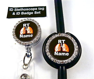 ID STETHOSCOPE TAG /& ID BADGE SET BLING RT,RRT,LUNGS RN,NURSE,ER,MEDICAL,TECH