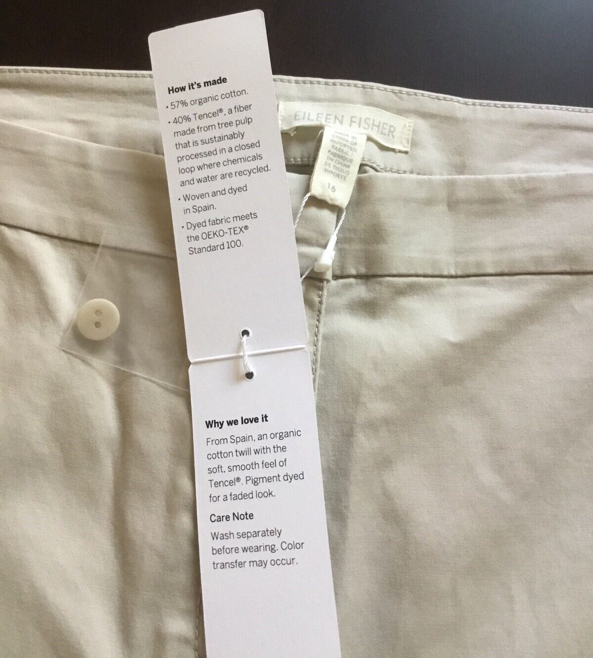NWT EILEEN FISHER Peble Washed Org. Cotton Tencel Twill Slim Ankle Pant 16