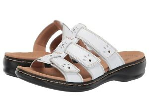 5bef0fc29ca9 Clarks LEISA SPRING Womens White Leather 34497 Slide Comfort Sandals ...