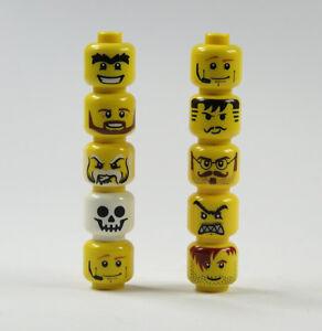 LEGO-10-Figure-Teste-giallo-City-Occhiali-Barba-stampa-Parte-di-ricambio-21