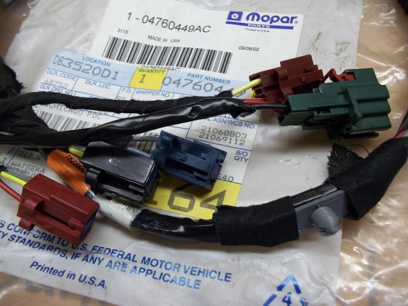 Miraculous Oem Mopar Lh Front Power Seat Wiring Harness 4760449Ac For 01 04 Wiring Cloud Hisonuggs Outletorg