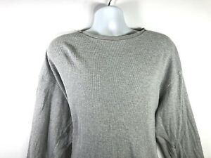 Eddie-Bauer-Mens-Shirt-Long-Sleeve-Henley-Waffle-Thermal-Gray-Medium-size