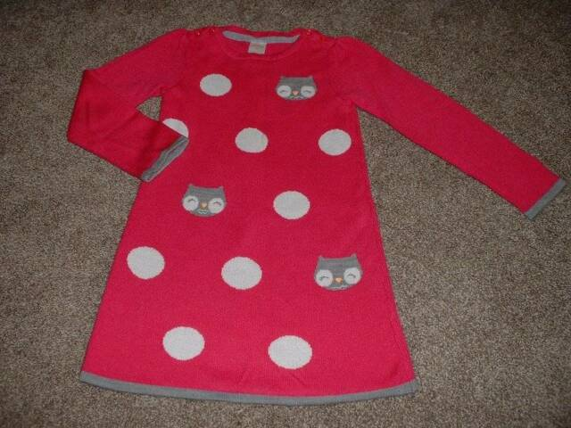 Gymboree Toddler Girls Sweater Weather Pink Owl Dot Dress Size 5T 5 Winter Fall