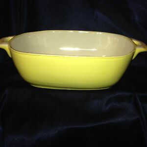 Image is loading SUR-LA-TABLE-ITALY-YELLOW-&-WHITE-HANDLED- & SUR LA TABLE ITALY YELLOW \u0026 WHITE HANDLED CASSEROLE DISH 13\