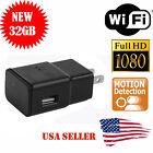1080P SPY Hidden Camera WIFI USB Wall Phone Charger AC Adapter Plug DVR 32GB LY