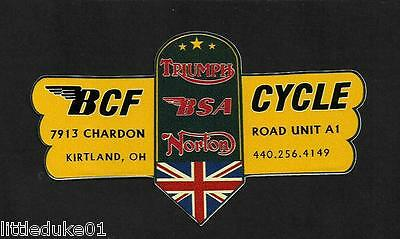 """BRITISH CYCLE FACTORY"" BSA NORTON TRIUMPH MOTORCYCLE WORKSHOP STICKER DECAL"