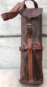 Antica trousse borsa cuoio maniscalco militare attrezzi ferratura cavalli 1a WW