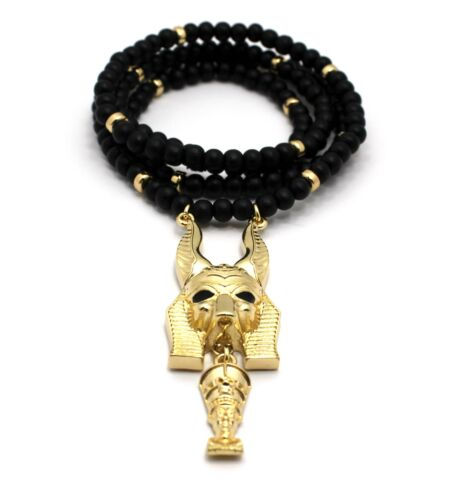 """NEW ANCIENT EGYPTIAN SYMBOL PENDANT 6mm//30/"""" WOODEN BEAD HIP HOP NECKLACE"""