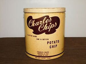 "VINTAGE KITCHEN 9 1/2"" HIGH CHARLES CHIPS POTATO CHIP METAL TIN CAN *EMPTY*"