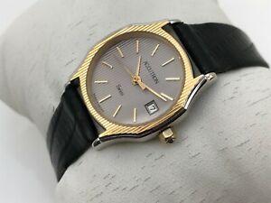 Accutron Vintage Watch Swiss Date Calendar Ladies watch Black Leather Band
