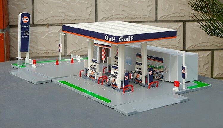 Nouveau gulf gas station 1 64 Assemblée modèle fit for Diecast Car Model