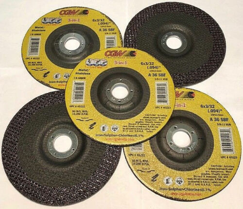 """5-Pack Cutting Grinding Finish Wheel 6/"""" x 3//32/"""" x 7//8/"""" A36SBF T-27 CGW 45222 NEW"""