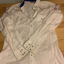 New Listingwrangler Womens Show Horse Riding Shirt Crystal Snap White With Stains Medium