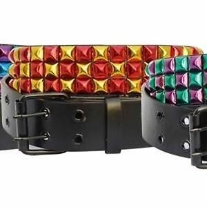 Three-Row-Metallic-Gold-Red-Studded-Black-Buckle-Belt-105cm