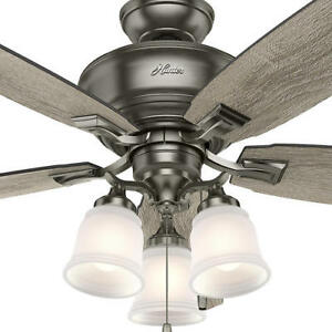 58 Gray Oak 5 Blade Ceiling Fan Antique Air Flow Remote Transitional Led Light Ebay
