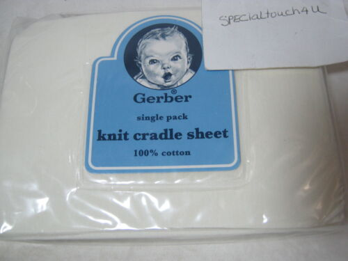 New Gerber Cotton Knit Cradle Sheet Solid Ivory NIP