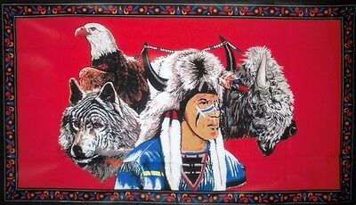 5x3 Feet USA INDIAN AND HORSE FLAG NATIVE AMERICAN HORSE