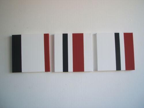 HAND PAINTED MODERN ART CANVAS BLACK,WHITE RED 20CM//30CM PLAIN,SQUARES,CIRCLES