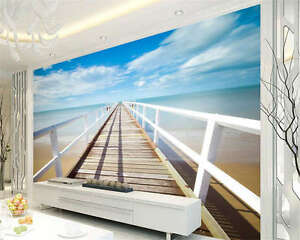 3D Jetty Sea Sunset Ocean Full Wall Mural Photo Wallpaper Printed Paper Home Dec