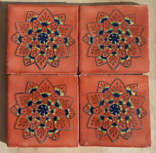 "10~Talavera Mexican tile pottery hand painted 4"" Terra Cotta Peacock blue gold"