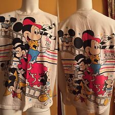 Vintage Mickey Mouse All Over Print T-Shirt Disney MGM Studios Theme Park Size