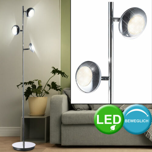Retro LED Steh Leuchte 15 Watt Flur Diele Chrom Spot beweglich DxH 250x1400 mm