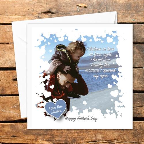 6ebd102dd Personalised Handmade Happy Christmas Card Photo Dad Daddy Birthday Hearts  Xmas | eBay