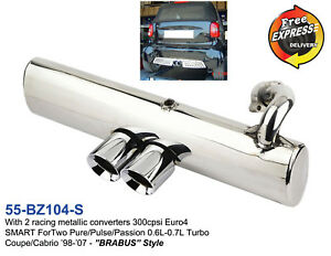 Sportauspuff-Auspuff-fuer-SMART-ForTwo-450-0-6L-0-7L-Turbo-Brabus-Stil-Dual-Runde