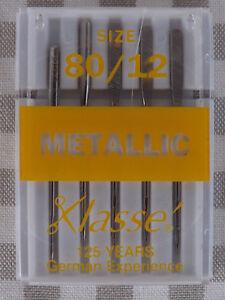 Klasse-SEWING-Machine-Needles-Metallic-80-12-large-eye-Less-Shredding