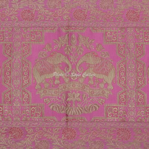 Indian Elephant Reception 5 Ft Table Cloth Baby Pink Brocade Satin Table Runner
