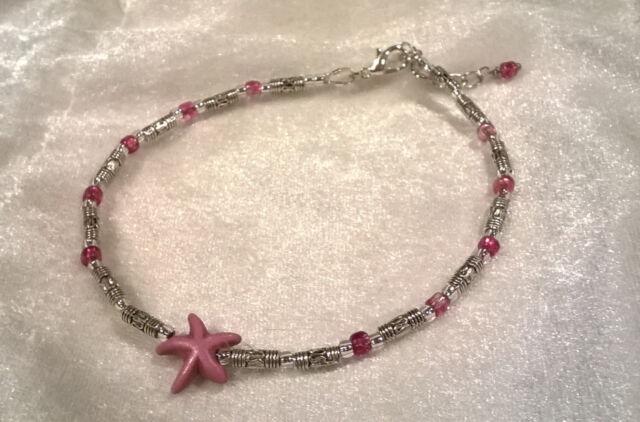 Purple turquoise starfish, with Tibetan silver ankle bracelet adjustable