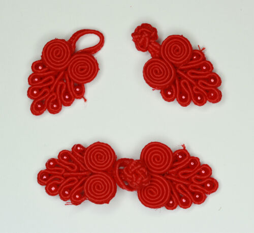 5 Pares Rana Sujetadores Nudos Botón Color Rojo #4