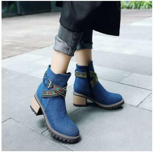 Winter New Vogue Women Ethnic Embroidery Casual Round Toe Block Heel Ankle Boots