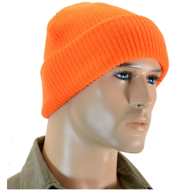 Orange Winter Watch Cap - Thick Knitted Beanie Warm Outdoor Military Army  Hat 356e470738c