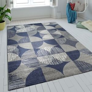 Tapis-Salon-Poils-Ras-Cercles-Carreaux-Design-Batik-Bleu-Gris-Aspect-Retro