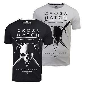 Camiseta-para-hombre-de-cuello-redondo-impresion-craneo-Crosshatch-Manga-Corta-Informal-de-Verano