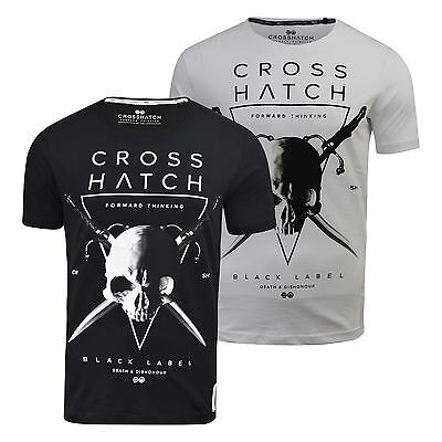 Mens T Shirt Crosshatch States Cotton Crew Neck Graphic Printed Casual Top