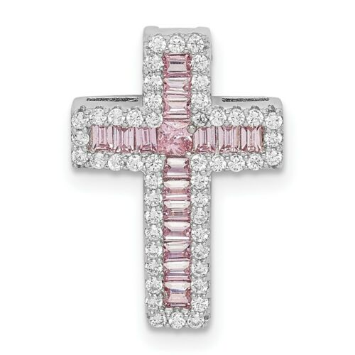 Details about  /Sterling Silver 925 Pink /& White CZ Cross Chain Slide Charm Pendant