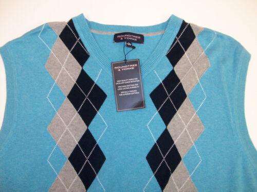 Roundtree /& Yorke V-Neck Argyle Sweater Vest $59 Purple Black Gray Red Aqua NWT