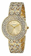 NEW Vernier VNRP11185YG Women's Triple Row Crystal Bezel and Bracelet Gold Watch
