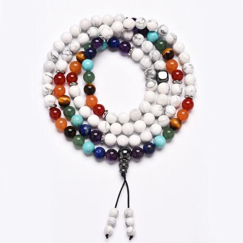 7 Chakra Buddha Beads Beracelet 108 Prayer Mala  Natural Stone Necklace Gifts