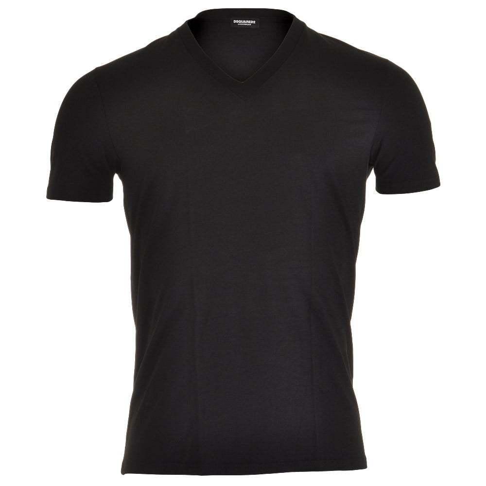 DSQUARED 2 uomo Underwear Modal Stretch V-Neck T-Shirt, Top Designer, Nero Tee
