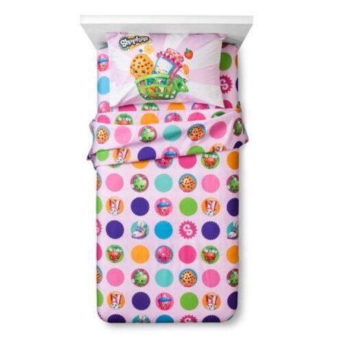 New Shopkins Twin Sheet Set 3pc Bedding Set Kooky Cookie Moose Kid Girl NIP