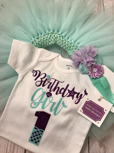 Mermaid First Birthday tutu under the sea birthday shirt little mermaid outfit