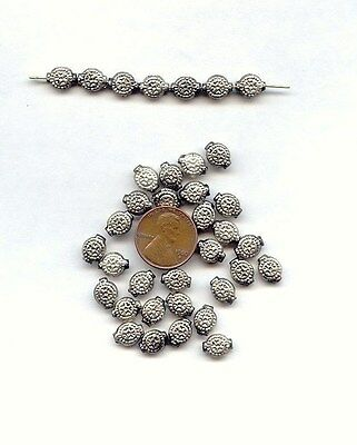 28 VINTAGE ANTIQUE SILVER PLATED HANDMADE TRIBAL FLOWER 7mm. ROUND BEADS  D211